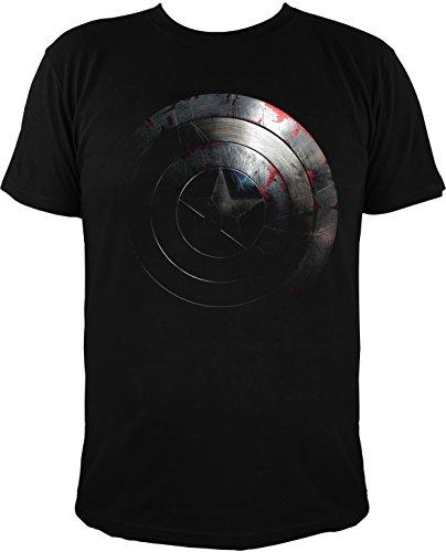 Camiseta con Escudo de El Capitán América, Negro - Extra-Large