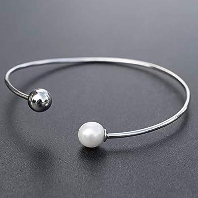 Boule avec bracelet perle, bracelet manchette, bracelet minimaliste, bracelet de mariage, bracelet en argent sterling pour les femmes, bracelet ouvert
