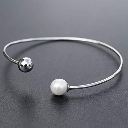 Banda de bola con perla, brazalete, pulsera minimalista, pulsera de la boda, brazalete de la plata esterlina para las mujeres, brazalete abierto