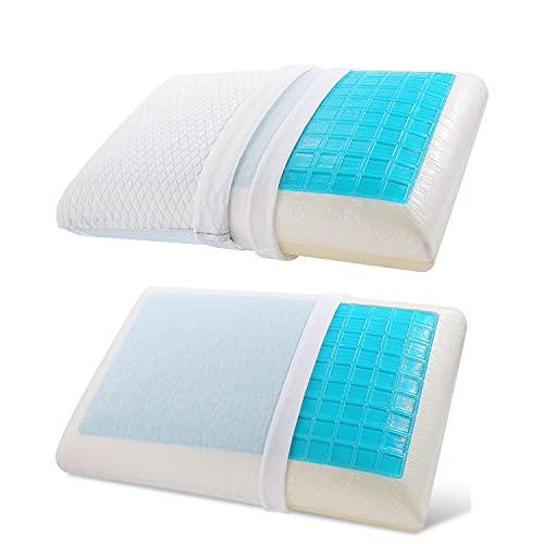 Almohada Reversible de Gel Fresco y Espuma de Memoria de Doble Cara,Almohada para Dormir, Almohada de refrigeración, Almohada Cervical, Funda de Almohada extraíble Lavable(1 Almohadas) (Azul Blanco)