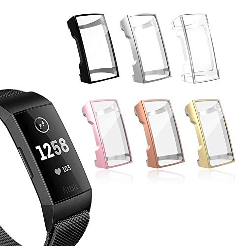 YiJYi Compatible with Fitbit Charge 4/ Charge 3 Screen Protector, Soft Slim Full-Around Protective Case Cover Shield Bumper for Fitbit Charge 4 and Charge 3 /SE(6 Pack New)