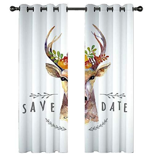 Beydodo Tende Oscuranti Soggiorno Moderne 2 Pannelli, Tende Poliestere Stampato 264x160cm Cervo con Fiori e Lettere Arancione Bianco