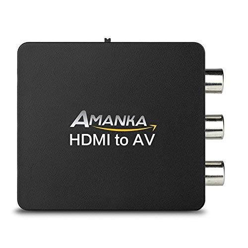 AMANKA HDMI a AV RCA Adaptador Conversor de señal Mini 1080P Compatible con HDMI1.3 para TV Reproductor de HD DVD PS3 Xbox 360 etc - Negro