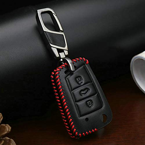 ZYHYCH Funda de Cuero para Llave de Coche, Apto para Seat Leon Ibiza CUPTRA Apto para Skoda Octavia Apto para VW Polo 2016 Golf 7 MK7,3 botón Rojo