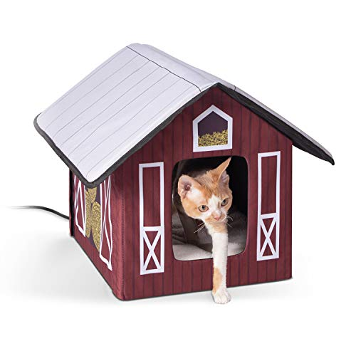 K&H Pet Products Outdoor Heated Kitty House Cat Shelter Barn Design 18 X 22 X 17 Inches