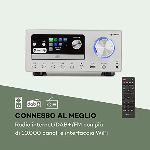 auna Connect System - Impianto Stereo , Sistema Compatto , Radio Internet , DAB + , FM , 80 W max. , Lettore CD , USB , Bluetooth , Spotify Connect ,