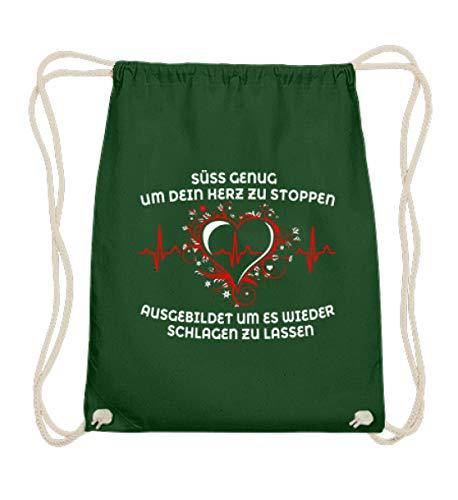 Maglietta da infermiera · Regalo per personale sanitario · Scritta: dolce (variante bianca) – Cotone Gymsac, Verde (verde scuro), 37cm-46cm