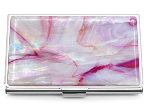 MADDesign Mother of Pearl Business Card Case ID Holder Mini Wallet Marble Pink