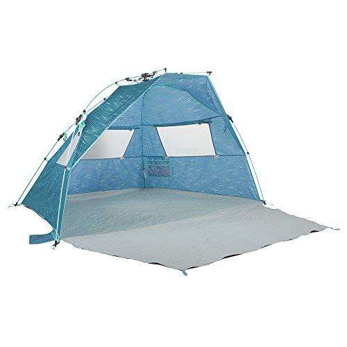 Lightspeed Outdoors Quick Cabana Beach Tent Sun Shelter, Aqua Teal Waves