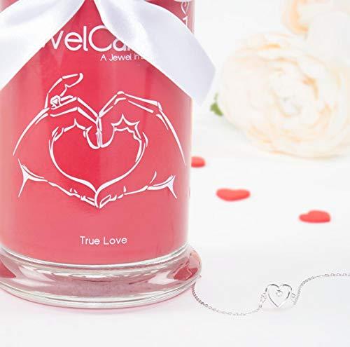 JuwelKerze Ich Liebe Dich - Kerze im Glas mit Schmuck - Große rote Duftkerze mit Überraschung als Geschenk für Sie (Silber Armband, Brenndauer: 90-120 Stunden)