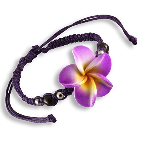 ISLAND PIERCINGS Frangipani Blüten Armband Shamballa längenverstellbar B159