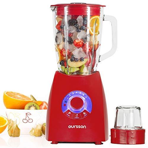 Oursson Mixer mit Edelstahlmühle, 7 Geschwindigkeitsstufen, 2 l Fassungsvermögen, 600 Watt, Energieeffizienzklasse A, Rot, BL0642G/RD