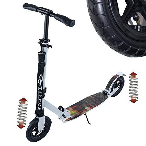 Hepros Air Fully Scooter 205 mm, neumáticos de ciudad, para adultos, color blanco, híbrido, rodamientos de cerámica, color alemán