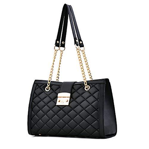 LMBRJ Damen kette umhängetasche lingge tasche modedesigner handtasche schultasche für die arbeit, dating, shopping, schwarz