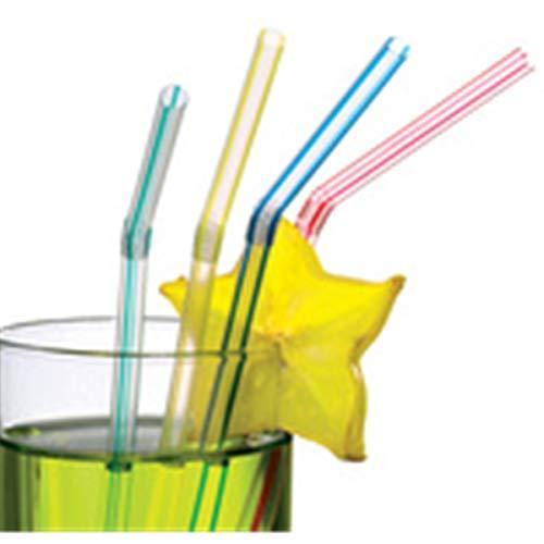 Susy Card 11144912 - Trinkhalme, transparent mit farbigen Streifen, flexibel, farbig, sortiert, 100 Stück