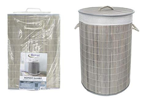 TIENDA EURASIA® Cesta de Bambu para la Ropa Sucia - Cesta Plegable con Tapa y Funda Interior - Ideal para organizar la Ropa para la Colada (Gris, Redondo 40DX60 CM)