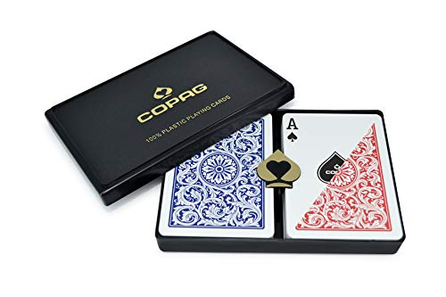 Copag 1546 Design 100% Plastic Playing Cards, Poker Size Regular Index Red/Blue Double Deck Set
