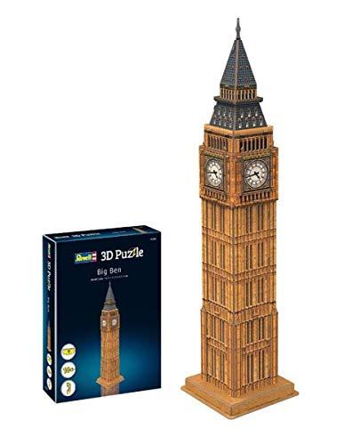 Revell 3D puzzel 00201 Big Ben, de horloge van Westminster Palace en beroemdste kenteken Londons De wereld in 3D ontdekken, knutselplezier voor jong en oud, gekleurd