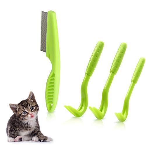 nobrand Tick Pinze Tick Remover Tool Tick Gancio, per Cani/Gatti/Facile Rimozione delle Zecche - 3 Pezzi Rimovi Tick + 1 Spazzola da pulci
