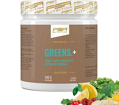 FSA Nutrition Greens Pulver Superfood für Gesundheit und Immunsystem - Rote Früchte, 240 g