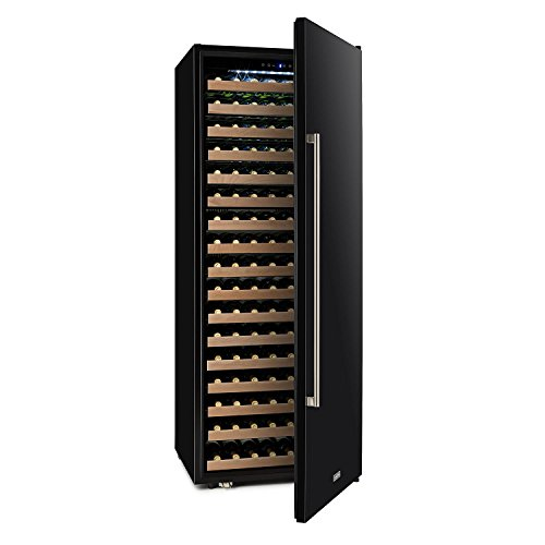 Klarstein Botella Cura - Weinkühlschrank, Getränkekühlschrank, 558 Liter, 224 Flaschen, 1 Kühlzone: 5-22 °C, 17 Holzeinschübe, LCD-Display, Touch-Bediensektion, freistehend, schwarz-silber