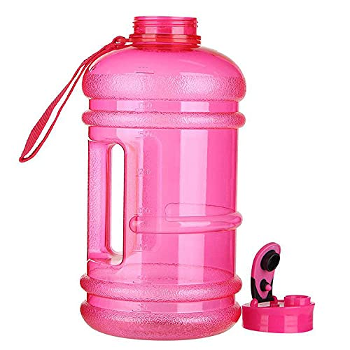 Large Capacity Water Bottles Motivational Time Markings Extra Large Durable Sports Flask Transparent BPA Free Drinks Bottles for Fitness, Gym and Outdoor Sports-pink
