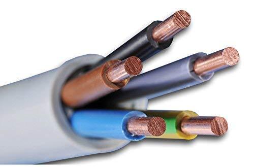 Installationskabel NYM-J 5x1,5 mm² - Kunststoff Installationsleitung - 10m / 10 m / 10 meter -PVC - grau