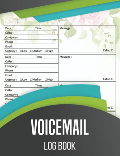 Voicemail Log Book: Simple Phone Call Message Tracker, Over 540 Telephone Record Space| Home & Office Supplies Log Book