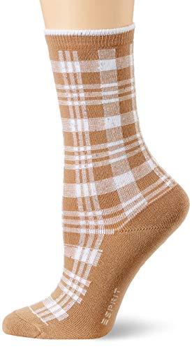 ESPRIT Damen Nopped Check Socken, braun (camel 5038), 35-38