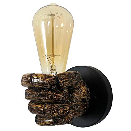 Aplique De Pared Vintage 1 Luz, Accesorios De Luces De Pared Industriales Al Lado del Aplique con Enchufe E27 / E26, Accesorio De Lámpara De Pared para Dormitorio, Pasillo, Escaleras,Right Fist