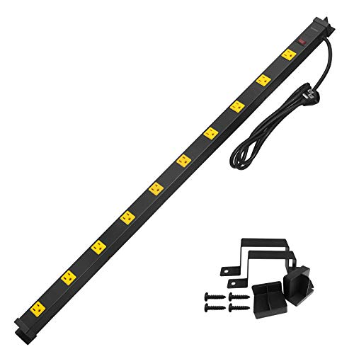 Suraielec 10 Outlet Long Power Strip Surge Protector, Industrial Heavy Duty Metal Shop Power Strip with Flat Plug, 1000 Joules, 15 AMP Breaker, 6FT Cord, Wall Mountable, for Work Bench, Shop, Garage