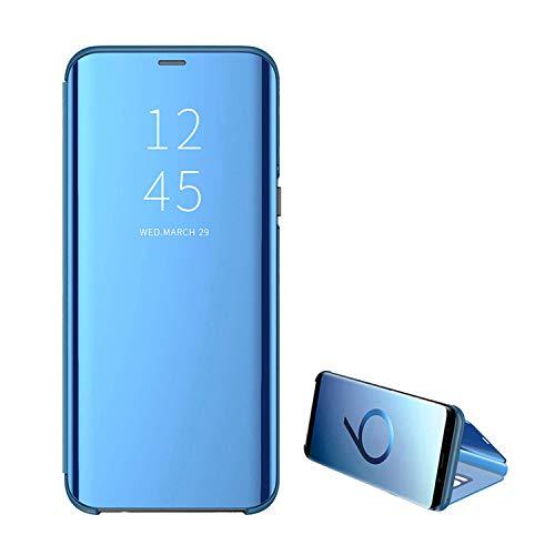 Kompatibel für Samsung Galaxy S7Edge Handyhülle, Handy Schutzhüllen mit Spiegel Clear View Standfunktion Cover 360 Grad Stoßdämpfung Hülle Kratzfeste Flip Slim Blau