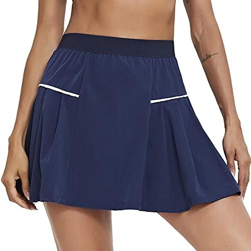 Sykooria Falda Padel Mujer Falda Pantalon Mujer de Doble Capa con Bolsillo Falda Tenis Mujer Secado Rápido Falda Deporte Mujer para Tenis Running Golf Gym,Azul Armada,XL