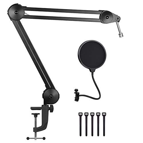 Swivel Mount Studio Microphone Boom Arm, with Mic Pop Filter Suspension Scissor Boom Stands with Mic Clip and Cable Ties for Blue Yeti Snowball and Blue Yeti Nano,Radio Broadcasting and Game