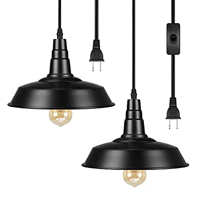 DEWENWILS Plug in Pendant Light, Vintage Hanging Light with 15FT Plug in Cord, On/Off Switch, Metal Shade, Hanging Light Fixture for Bedroom, Kitchen Island, Living Room, Dining Table, 2 Pack