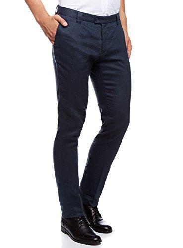 oodji Ultra Herren Leinen-Sommerhose Slim Fit, Blau, 44