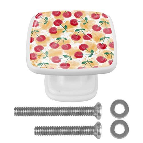 Juego de 4 perillas cuadradas para gabinetes de vidrio de cristal Cerezas Red Delicious Tiradores coloridos del cajón de la manija de los muebles de las perillas 3x2.1x2 cm