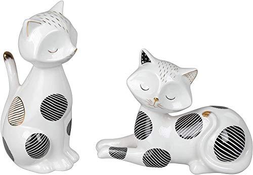 Lifestyle & More Sculpture Moderne Figurine décorative Chat 2 pièces en céramique Blanc 20x20 cm