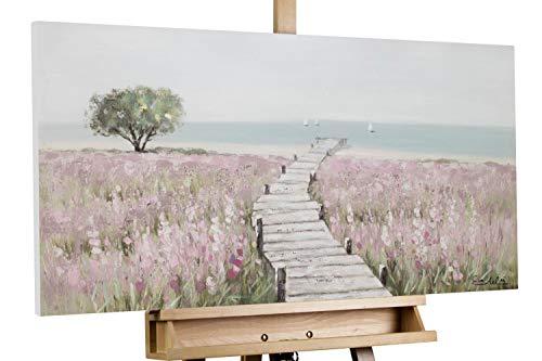 KunstLoft® Acryl Gemälde 'Sea of Flowers' 100x50cm   original handgemalte Leinwand Bilder XXL   Blumen Weg Rosa Blau   Wandbild Acrylbild Moderne Kunst einteilig mit Rahmen