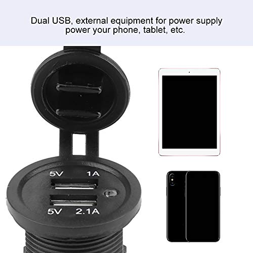 High/Low Temperature ABS Black Dual USB Car Charger, 12-24V Car USB Charger, for Ships Yachts