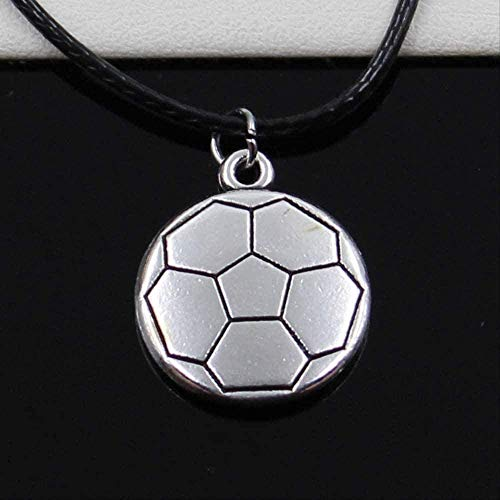 LKLFC Necklace Women Necklace Men Necklace New Tibetan Silver Color Pendant Double Sided Soccer Necklace Choker Black Leather Cord Factory Price Handmade Jewelry Pendant Necklace Girls Boys Gift