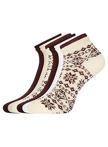 oodji Ultra Damen Socken mit Doppeltem Gummi (6er-Pack), Mehrfarbig, DE 38-40 / M