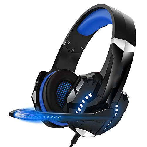 LG Snow Gaming Headset, Virtual Stereo Surround Sound 3.5mm Jack Gaming Headset für PS4 / PC/Notebook / 3,5-mm-fähige Geräte (Color : Blue)