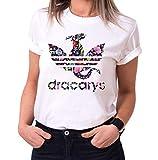 Dracarys Rocio - Camiseta para Mujer de Cuello Redondo Targaryen Thrones Game of Stark Lannister Baratheon Daenerys Khaleesi TV BLU-Ray DVD, Größe2:Small, Farbe2:Blanco