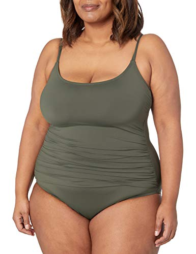 La Blanca Women's Island Goddess Rouched Body Lingerie Mio One Piece Swimsuit, Olive, 12