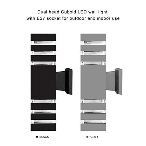 Moderne buitenverlichting waterdicht up down LED wandlamp buitenverlichting industriële decoratie voor tuin buiten buitenverlichting Dual Head Squre_1pc grijs