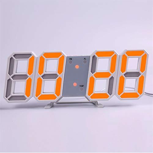 Wanduhr wohnzimmer, Wanduhr Modern Design Wohnzimmer Dekor Watchuhr 3D LED Digital Table Alarm Nightlight Leuchten Desktop (Farbe : Wall clock k)