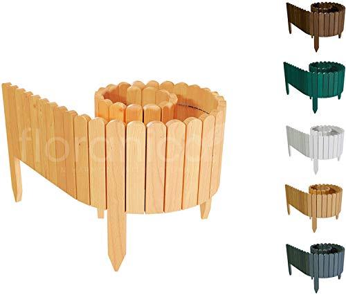 Floranica® Flexibler Beetzaun 203 cm (kürzbar) aus Holz | als Steckzaun Rollborder | Beeteinfassung | Kanteneinfassung |Rasenkante oder Palisade | Imprägniert, Höhe:20 cm, Farbe:Natur