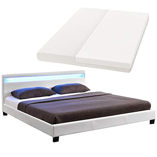 ArtLife LED Polsterbett Paris 140 × 200 cm mit Matratze und Lattenrost – Kunstleder Bezug & Holz Gestell – weiß – modern & stabil - Einzelbett Jugendbett