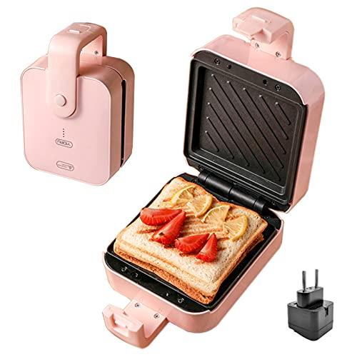 Sandwichera, Ligera Y Doble Cara Portátil Calefacción Sartén Antiadherente, Grill, Paninis, Sandwiches 0% Bpa De 600 W. Platos Antiadherentes De Pequeño Tamaño: 13,5 X 12,5 Cm. Mango De Tacto Frío.